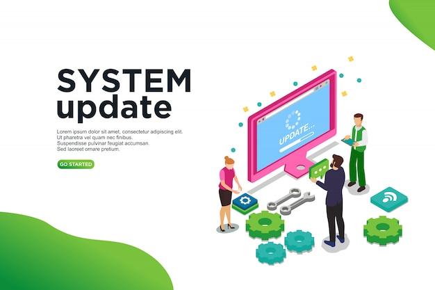 Concetto isometrico dell'illustrazione di vettore dell'aggiornamento di sistema.