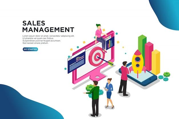 Concetto isometrico dell'illustrazione di vettore della gestione delle vendite
