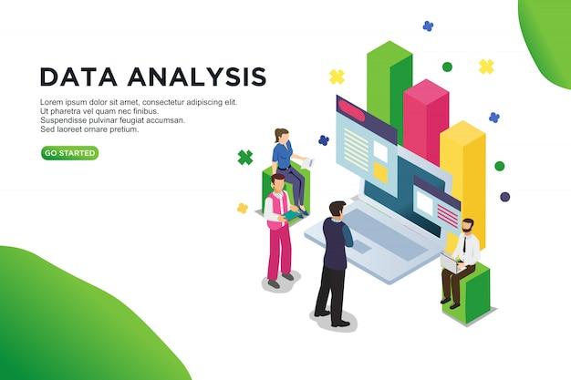 Concetto isometrico dell'illustrazione di vettore di analisi dei dati.