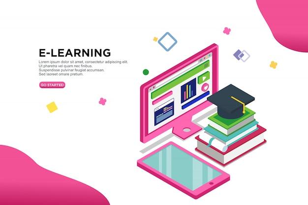 Concetto isometrico dell'illustrazione di vettore di e-learning