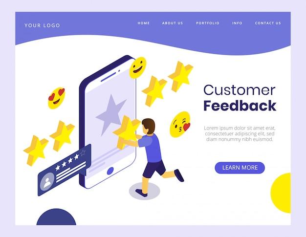 Concetto isometrico dell'illustrazione di vettore di feedback dei clienti