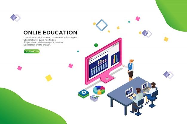 Concetto isometrico dell'illustrazione di vettore di istruzione online