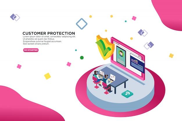 Concetto isometrico dell'illustrazione di vettore di protezione del cliente