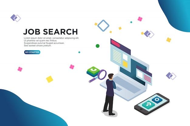 Concetto isometrico dell'illustrazione di vettore di ricerca di lavoro
