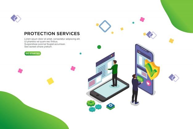 Concetto isometrico dell'illustrazione di vettore di servizi di protezione