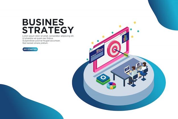Concetto isometrico dell'illustrazione di vettore di strategia aziendale