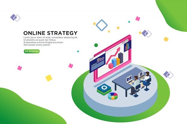 Concetto isometrico dell'illustrazione di vettore di strategia online