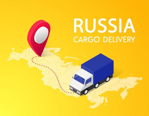 Concetto isometrico dell'insegna di consegna del carico con testo, perno, camion, mappa della russia su fondo giallo. servizio logistico progettazione 3d.