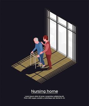 Concetto isometrico della casa di cura con la persona femminile che si occupa dell'uomo anziano che si muove con il camminatore