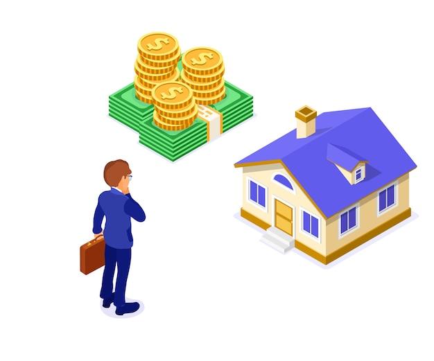 Concetto isometrico della casa di ipoteca di affitto di acquisto di vendita con la casa e soldi e uomo d'affari con il pensiero di valigetta investe denaro nel settore immobiliare