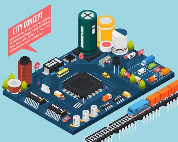 Concetto isometrico della città dei componenti elettronici a semiconduttore