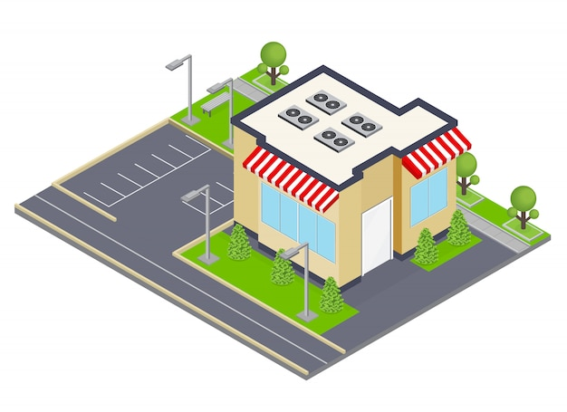 Concetto isometrico della costruzione commerciale con le finestre e l'illustrazione di simboli di parcheggio