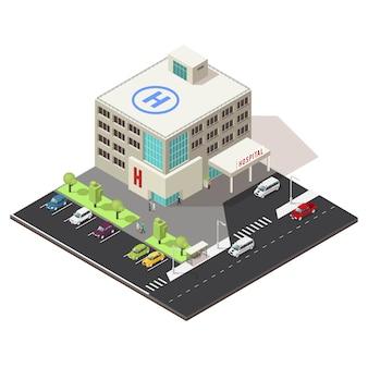 Concetto isometrico della costruzione dell'ospedale