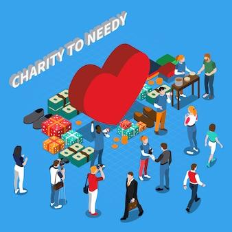 Concetto isometrico della gente volontaria di carità
