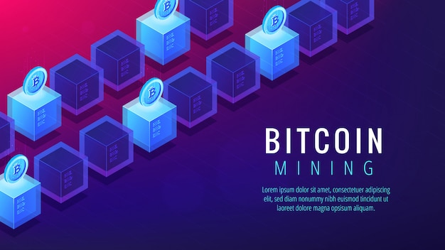 Concetto isometrico della pagina di atterraggio dell'azienda agricola di estrazione mineraria del bitcoin.