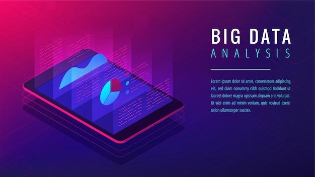 Concetto isometrico della pagina di destinazione di analisi dei grandi dati.