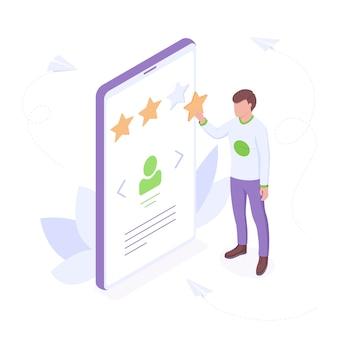 Concetto isometrico della recensione del cliente - il giovane aggiunge la stella nella valutazione del profilo mostrando la sua soddisfazione con un buon servizio.