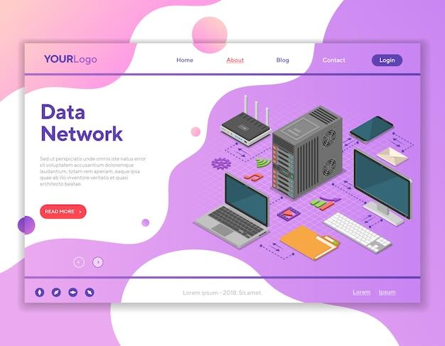 Concetto isometrico della rete dati