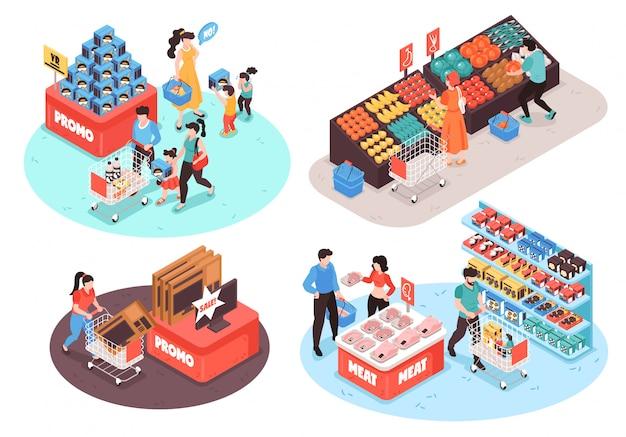 Concetto isometrico delle composizioni nel supermercato 4 con i clienti delle sezioni di promo della drogheria della carne del pollame della carne degli ortaggi da frutta isolati