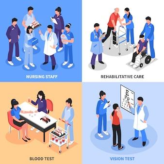 Concetto isometrico delle icone dell'ospedale