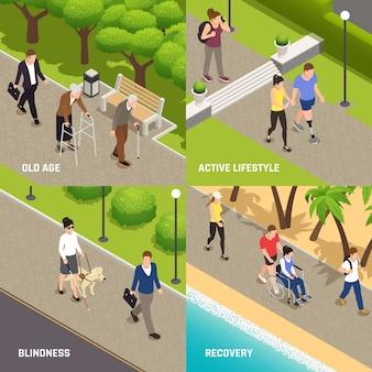 Concetto isometrico delle icone di riabilitazione 4 di attività all'aperto dei disabili disabili con il cieco anziano e l'amputato
