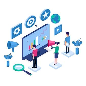 Concetto isometrico design piatto di ottimizzazione seo per sito web e sito web mobile