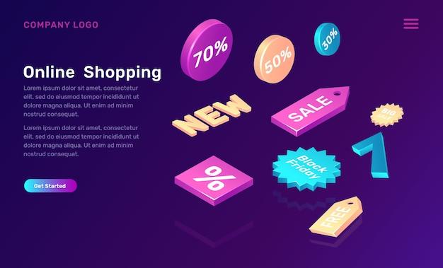 Concetto isometrico di acquisto online con le icone di vendita