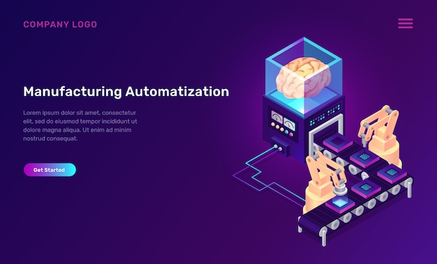 Concetto isometrico di automazione della produzione