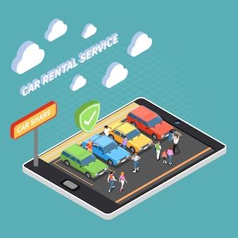 Concetto isometrico di car sharing con noleggio auto e condividere simboli isometrici