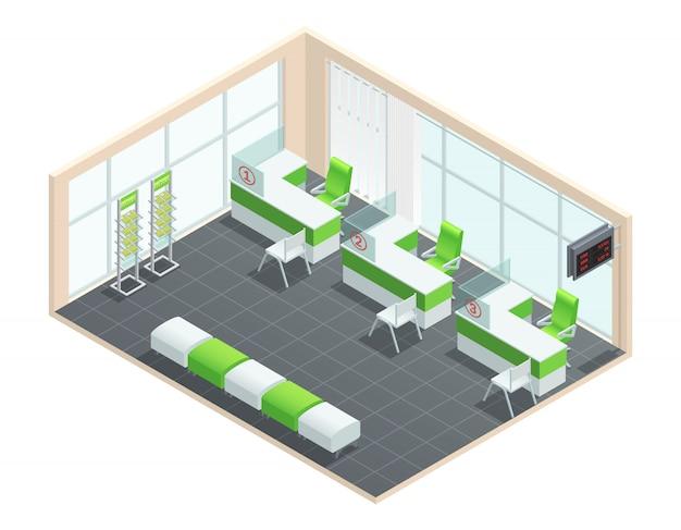 Concetto isometrico di colore della sala manager di banca