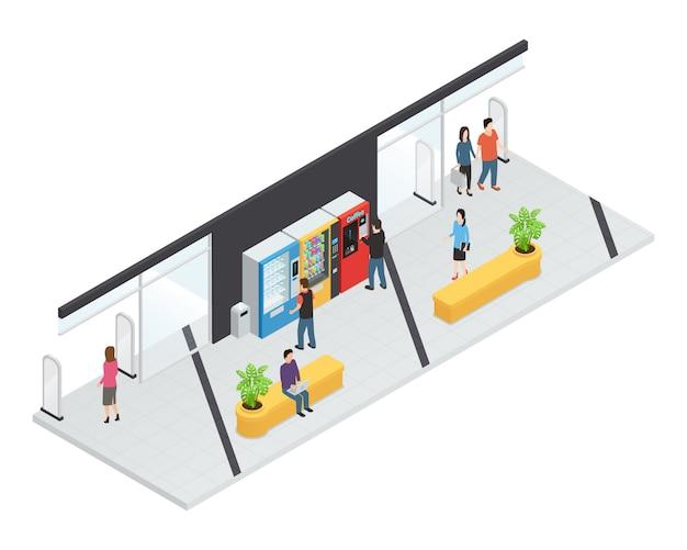 Concetto isometrico di distributori automatici con macchine alimentari e bevande