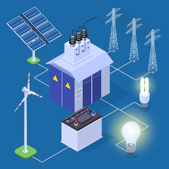 Concetto isometrico di energia elettrica con generatore di energia e pannelli solari