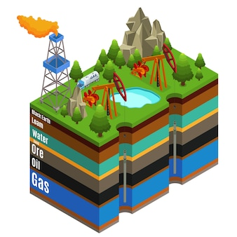 Concetto isometrico di estrazione del gas con camion rig derrick e diversi strati di terreno isolati