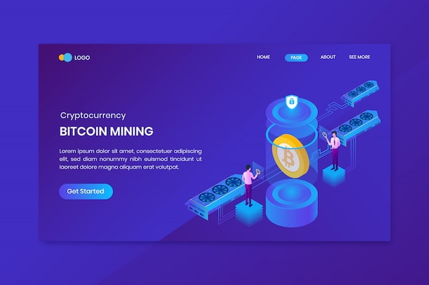 Concetto isometrico di estrazione mineraria della nuvola di bitcoin
