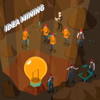 Concetto isometrico di estrazione mineraria di idea