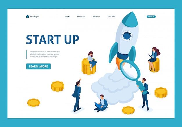 Concetto isometrico di investimento in startup, lancio di missili, giovani imprenditori pagina di destinazione