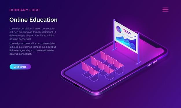 Concetto isometrico di istruzione o formazione online