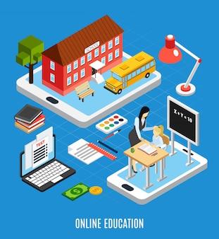 Concetto isometrico di istruzione online con gli allievi facendo uso degli apparecchi elettronici per lo studio dell'illustrazione di vettore 3d a casa