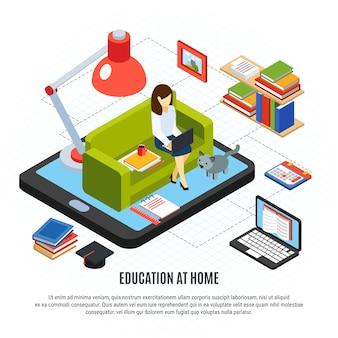 Concetto isometrico di istruzione online con la donna che studia a casa l'illustrazione di vettore 3d