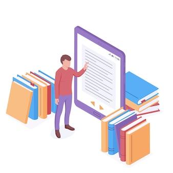 Concetto isometrico di lettura online. giovane che sta vicino alla compressa digitale enorme con la pagina del libro elettronico sullo schermo.
