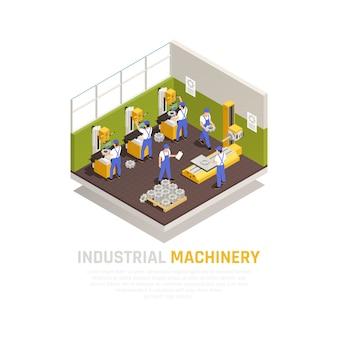 Concetto isometrico di macchinari industriali con simboli di fabbricazione in fabbrica