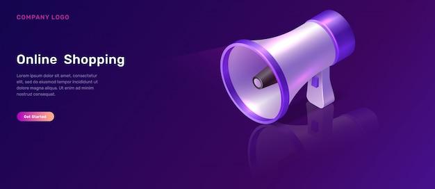 Concetto isometrico di marketing digitale con il megafono
