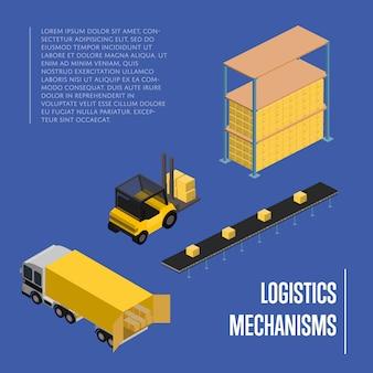 Concetto isometrico di meccanismi logistici