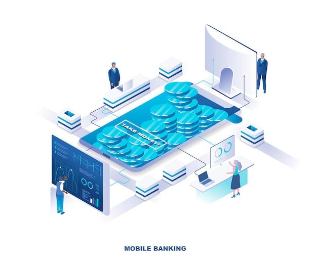Concetto isometrico di mobile banking