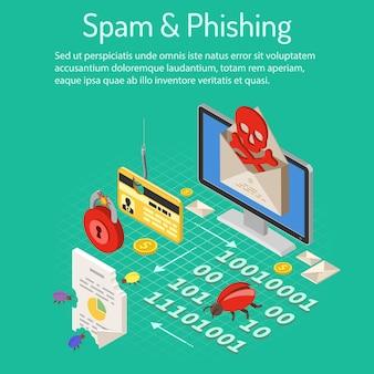 Concetto isometrico di phishing e di spam