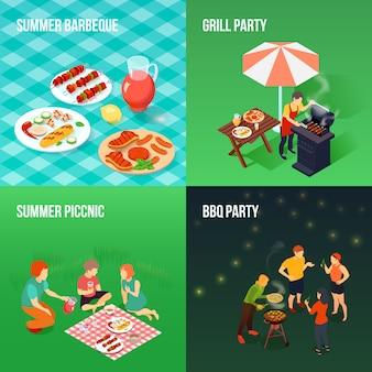 Concetto isometrico di picnic della famiglia