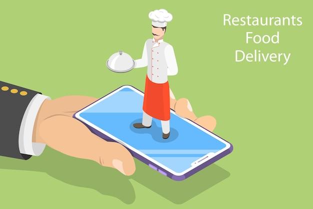 Concetto isometrico di prenotazione online del tavolo, prenotazione mobile, ordinazione e consegna di cibo.