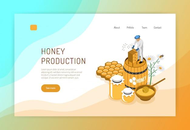 Concetto isometrico di produzione del miele della pagina web con l'apicoltore durante il lavoro su colore