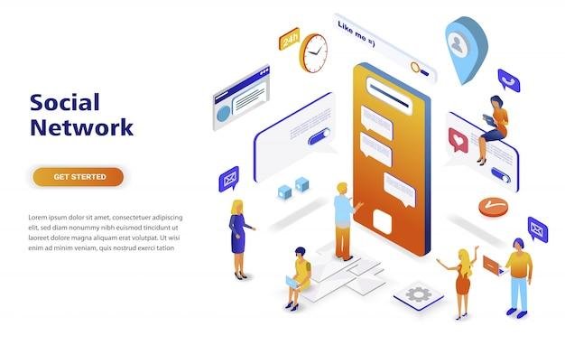 Concetto isometrico di progettazione piana moderna della rete sociale