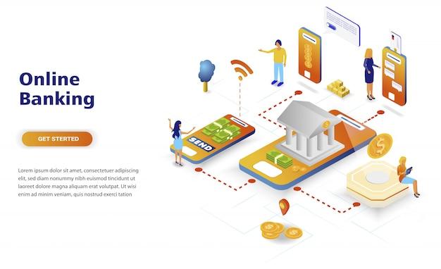 Concetto isometrico di progettazione piana moderna di attività bancarie online